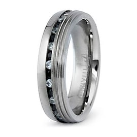 7mm Eternity Titanium Ring with Black and White CZ (Sizes 8-12)
