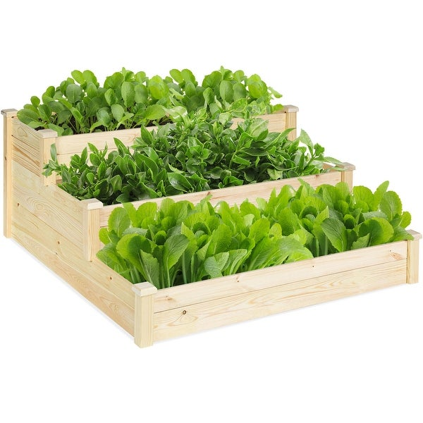 Costway 3 Tier Wooden Raised Garden Bed Planter Kit Outdoor Grow Flower Vegetables - wood