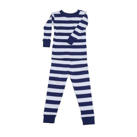 New Jammies Little Boys Navy White Classic Stripe 2 Pc Sleepwear Set 2T-7
