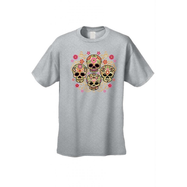 Men's T-Shirt Four Flowered Sugar Skulls Katrinas Skeleton Grim Reaper Tee