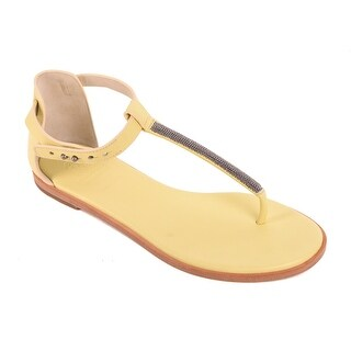 Brunello Cucinelli Pale Yellow Leather Thong Flat Sandals