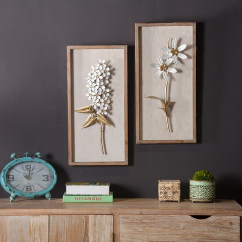2pc White and Gold Flower Bouquet Wall Plaque