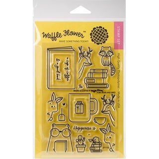 """Books & Coffee - Waffle Flower Crafts Clear Stamps 4""""X6"""""""
