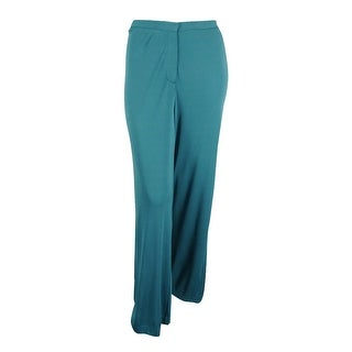 Sutton Studio Womens Wide Leg Trouser Pants Plus - turquoise - 22W