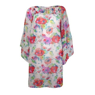 Bleu Rod Beattie Women's Floral Off-The-Shoulder Swim Cover (M, White Multi) - M