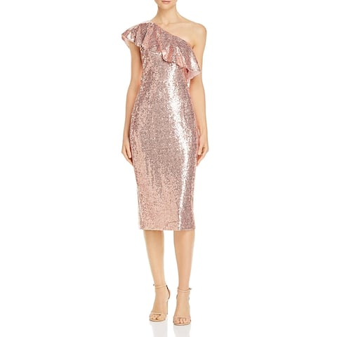 Rachel Zoe Womens Elizabeth Cocktail Dress Sequined Ruffled - Rose Gold - 10