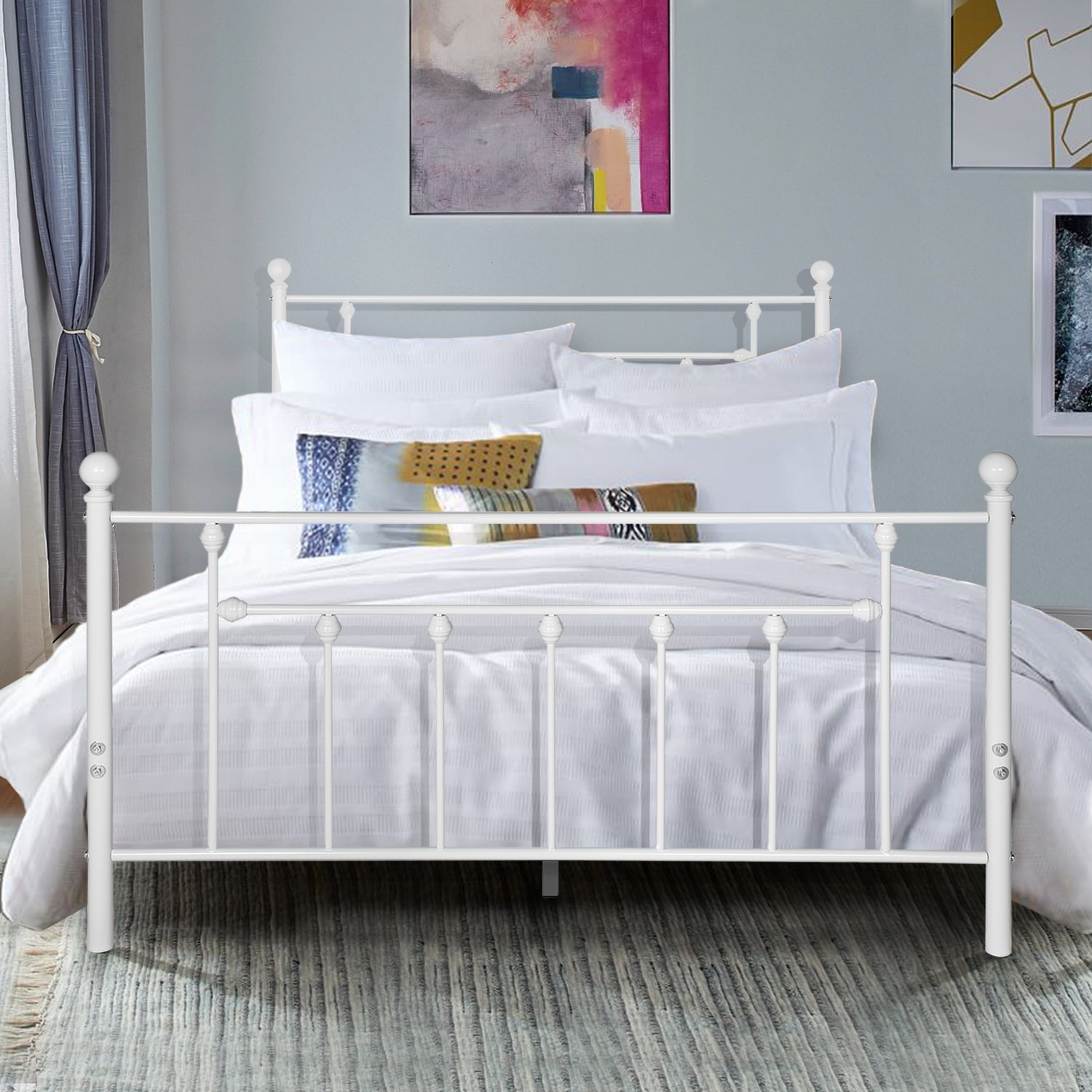 West Antique Industrial Lines White Iron Metal Bed By Vecelo Twin Full Queen Size 3 Opotion Overstock 29867994