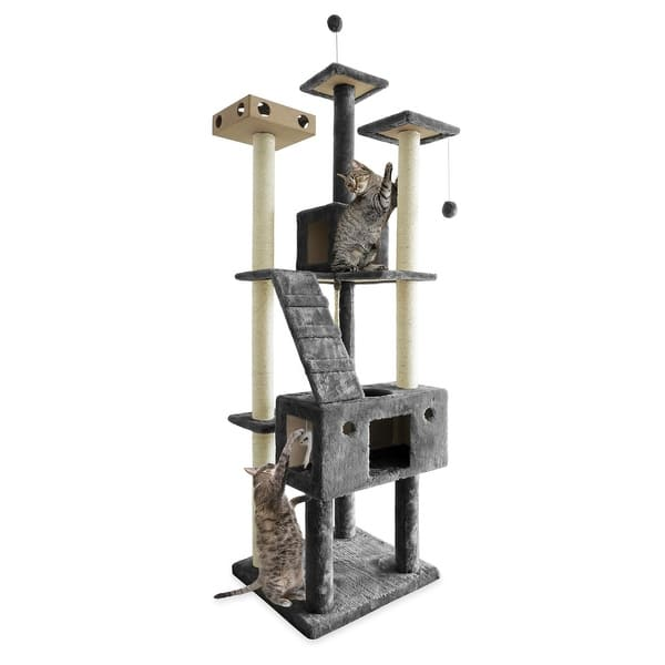 Furhaven Tiger Tough Double Decker Playground Cat Tree House Overstock 12269644