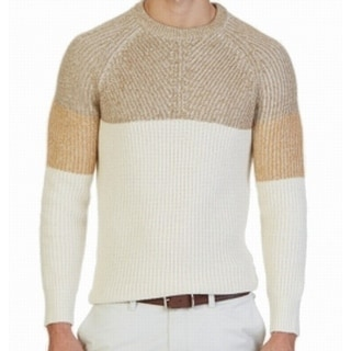 Nautica NEW Beige Oyster Colorblocked Mens Size Medium M Knit Sweater