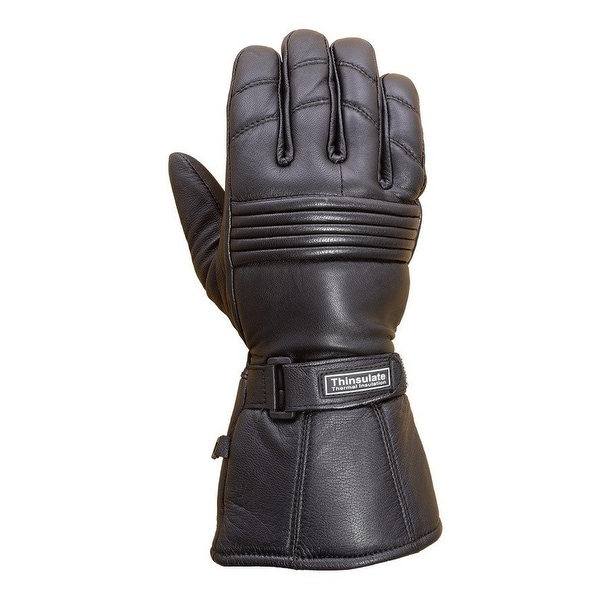 Premium Leather Long Gauntlet Motorcycle Biker Riding Winter Gloves Black G12