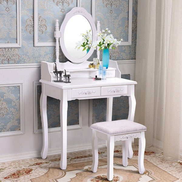Costway White Vanity Wood Makeup Dressing Table Stool Set Bathroom With Mirror 4drawers