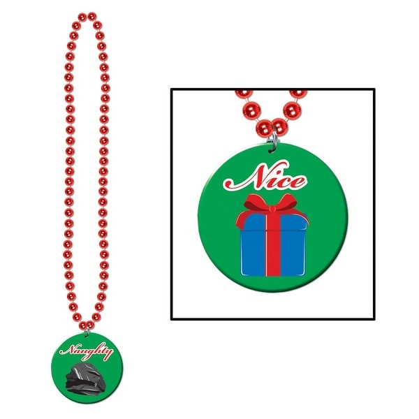 """Club Pack of 12 Christmas Naughty Or Nice Red Beaded Necklaces 36"""""""
