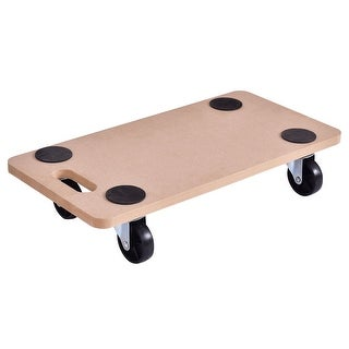 Costway 440lbs Platform Dolly Rectangle Wood Utility Cart Wheeled - as pic