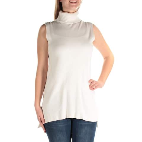 Alfani Women's New 69.50 Side Slit Sleeveless Turtleneck Sweater, White (M)