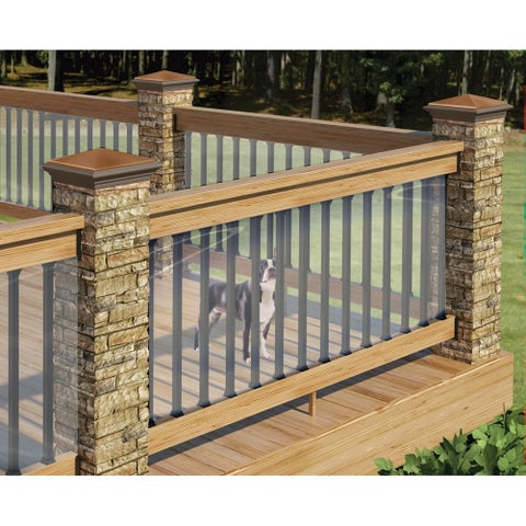 "Clear Plastic Deck Railing Shield - UV Resistant - 180"" L x 35"" H - Child Pet Dog Fence - 180 in. x 35 in."