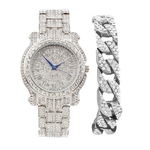 Bling-ed Out Round Luxury Mens Watch w/ Bling-ed Out Cuban Bracelet - L0504BC