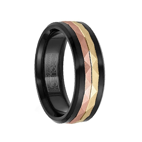 Brushed Black Cobalt Men's Wedding Ring with Faceted 14k Rose & Yellow Gold Inlay by Crown Ring - 7.5mm