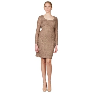 Sue Wong Beige Blush Soutache Embroidered Ribbon Long Sleeve Party Dress - 10