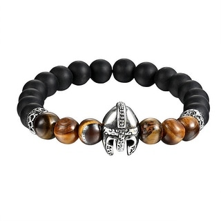 Knight Armor Helmet Bracelet Tiger Eye Black Beaded Shamballa Stainless Steel