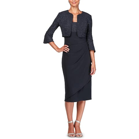 Alex Evenings Womens Petites Dress With Jacket Metalllic Sheath