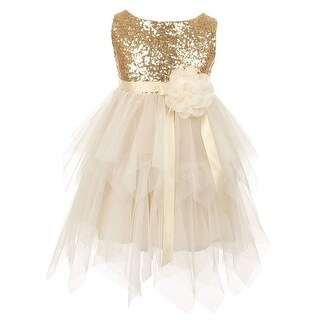 Big Girls Gold Sequined Bodice Poly Mesh Double Layered Party Dress 8-12