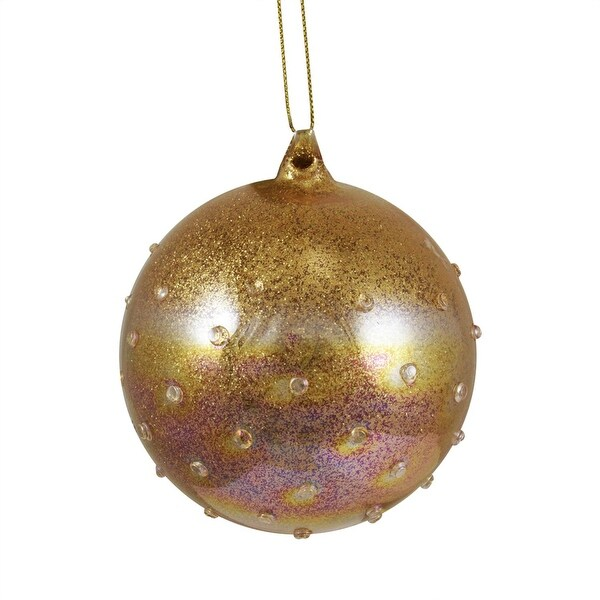 "4"" Sparkling Gold Hobnail Christmas Ball Ornament"