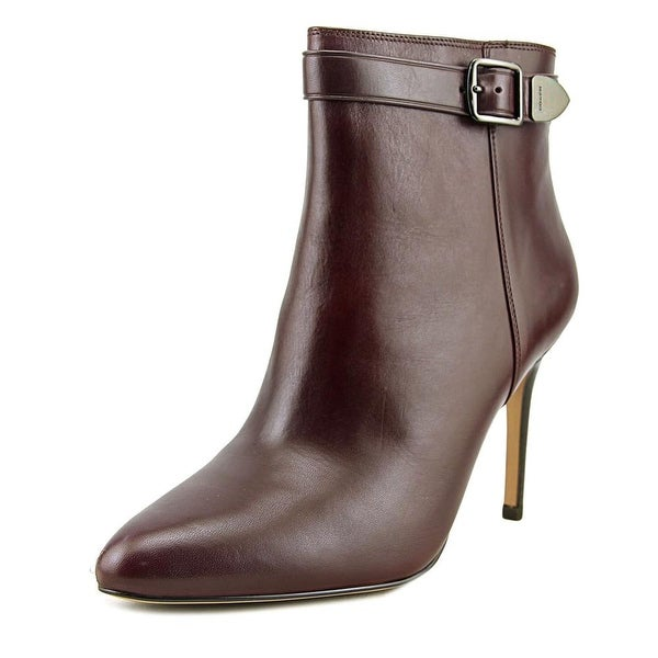 Coach Lenox Women Pointed Toe Leather Burgundy Bootie