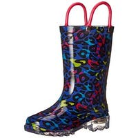 Western Chief Girls Groovy Leopard Rain Boots Leopard Print Light Up
