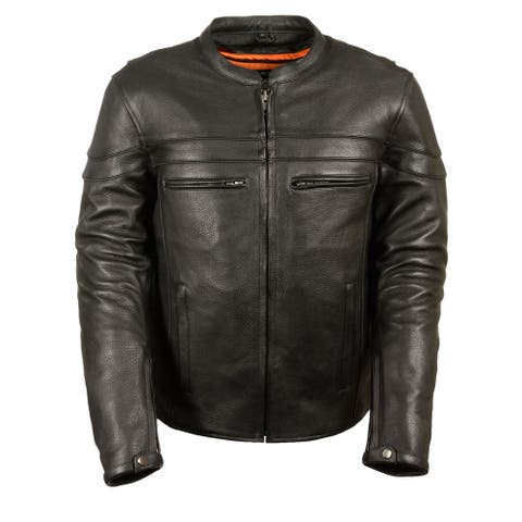 Mens Leather Sporty Scooter Crossover Jacket Concealed Carry Milled Cowhide