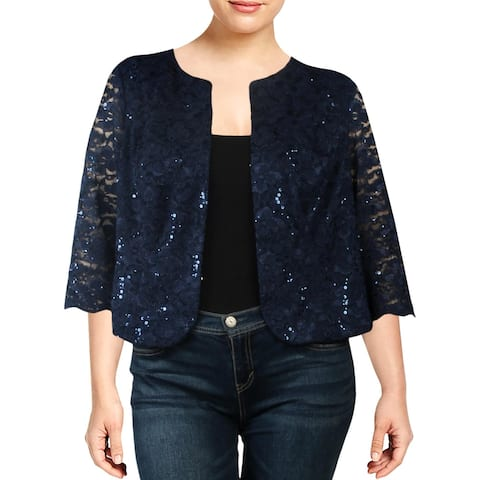 Alex Evenings Womens Plus Jacket Lace Sequined - Navy