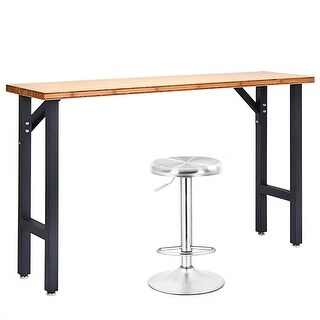 Costway 65' Bamboo Workbench Table Garage Workstation w/Stainless Steel Swivel Bar Stool - as pic