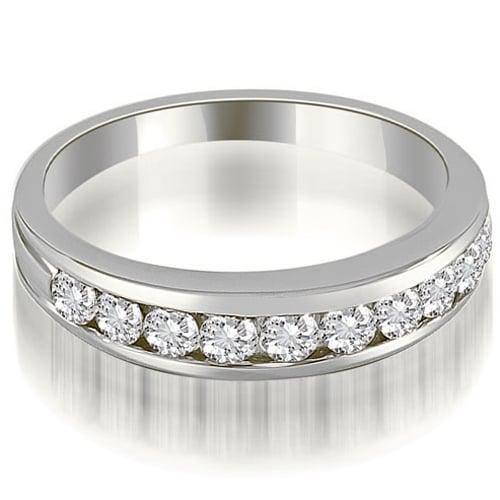0.60 cttw. 14K White Gold Classic Channel Set Round Cut Diamond Wedding Ring