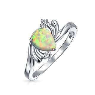 Pear Triangle CZ Pave Teardrop Created Opal Inlay Ring For Women 925 Sterling Silver October Birthstone