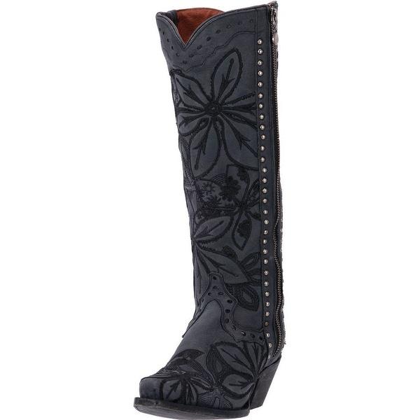Dan Post Western Boots Womens 15 Shaft Snip Toe Stitch Black DP3260