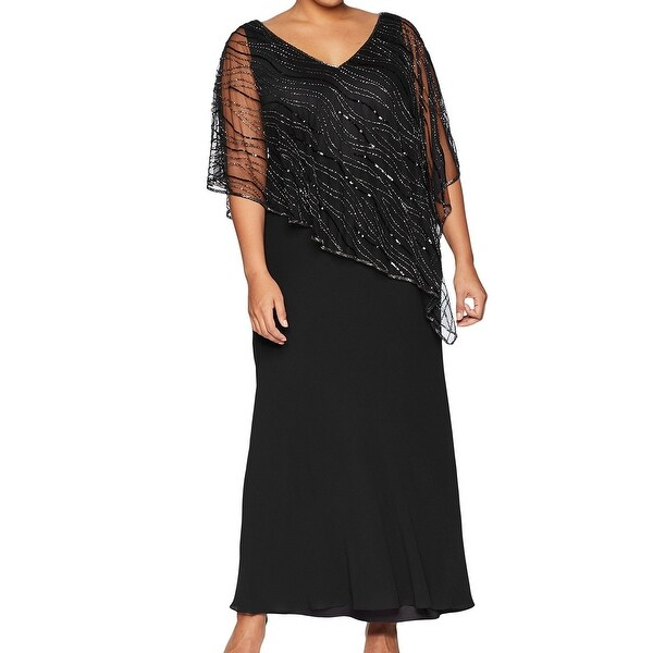 Shop J Kara New Black Womens Size 16w Plus Sheer Studded Popover
