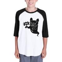 Boo French Bulldog Baseball Shirt For Kids Funny Halloween Tshirt