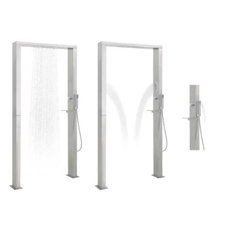 vidaXL Outdoor Shower Stainless Steel Double Jets