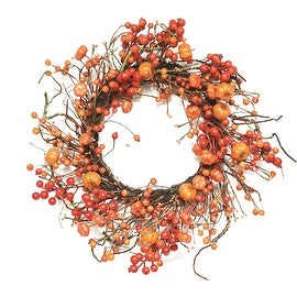"20"" Autumn Harvest Decorative Artificial Fall Orange Berry and Mini Pumpkin Wreath - Unlit"