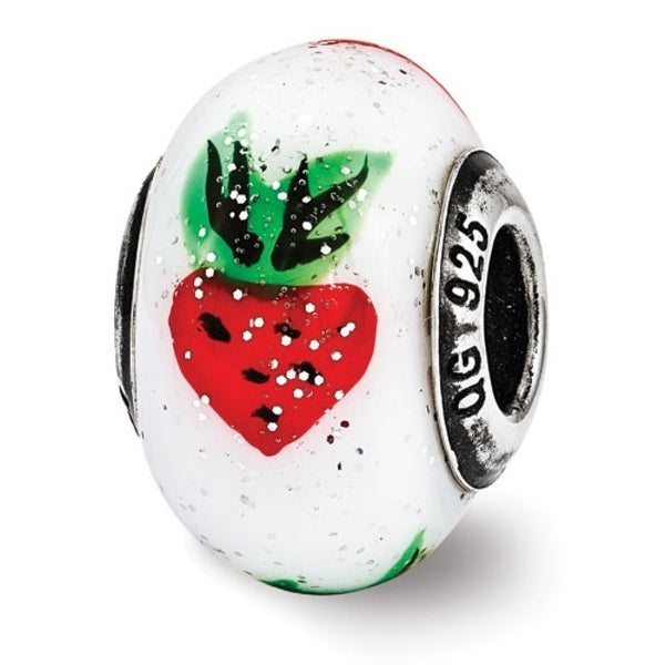 Italian Sterling Silver Reflections Strawberry Murrano Glass Bead (4mm Diameter Hole)