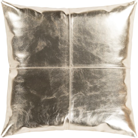 """Signature Champagne Leather Throw Pillow Cover (18"""" x 18"""")"""