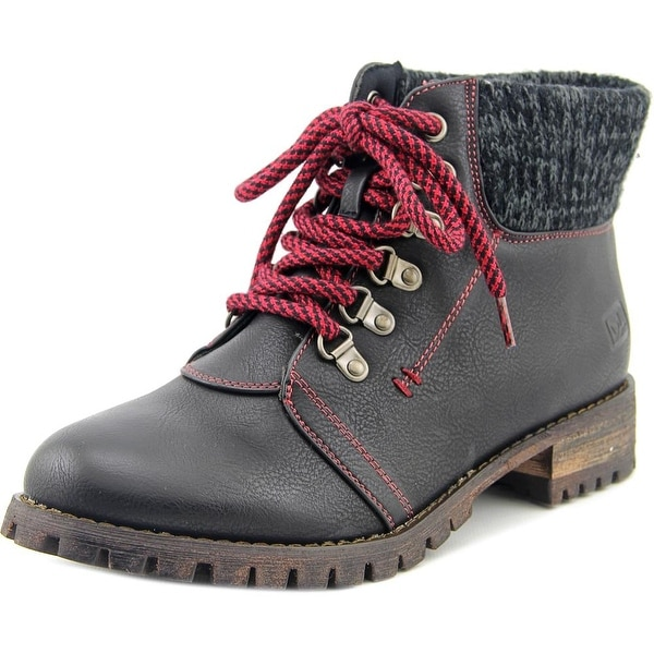 Dirty Laundry Tracker Women Round Toe Leather Black Winter Boot