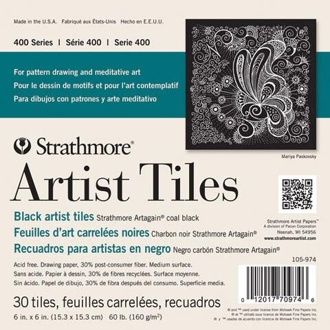 """Strathmore - Artist Tiles - Black Artagain - 4"""" x 4"""""""