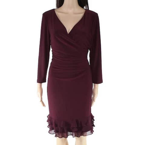 Lauren By Ralph Lauren Women's Dress Sheath Ruffled Hem