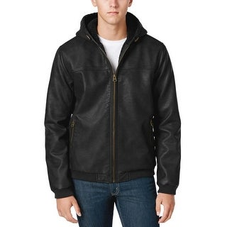 Levi's Mens Faux Leather Hooded Bomber Jacket Medium M Black Sherpa Lined