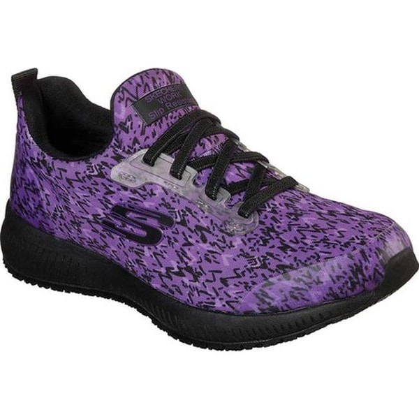 4aaa96ab7d42 Shop Skechers Women s Work Relaxed Fit Squad Ankey Slip Resistant Shoe  Purple Black - Free Shipping Today - Overstock - 25644763
