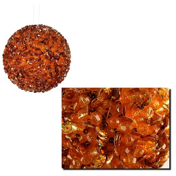 "Lavish Orange Fully Sequined & Beaded Christmas Ball Ornament 4.25"" (110mm)"