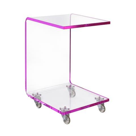 Picket House Furnishings Peek Acrylic Snack Table in Pink