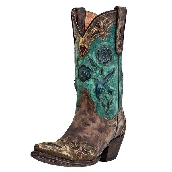 Dan Post Western Boots Womens Bluebird Inlay Sanded Copper Teal