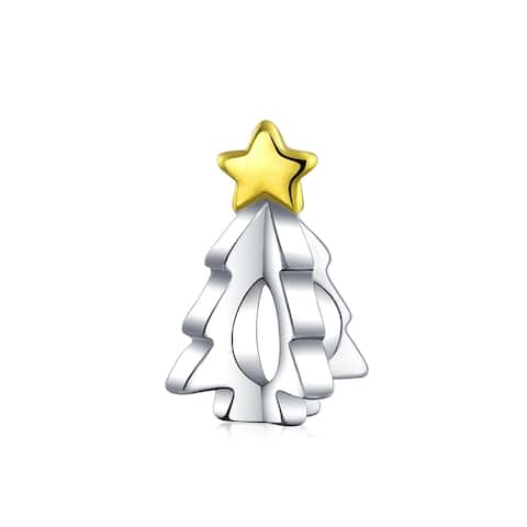 Tree Festive Star Charm Bead 2 Tone Gold Plated Sterling Silver