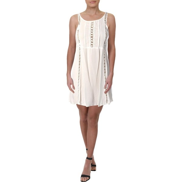 8b1a2fb44f Shop Aqua Womens Sundress Crochet Inset Mini - Free Shipping On Orders Over  $45 - Overstock - 27193502